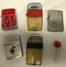 VINTAGE CIGARETTE CIGAR LIGHTER COLLECTION SCRIPTO NESOR ZIPPO FLINT HOLDER DICE