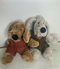Ganz Bro 1981 Wrinkles Dog Hand Puppets Two Stuffed Plush 18' With Overalls.