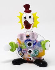Murano Glass Clown Figurine With Millefiori, Authentic Murano Hand Made in Italy