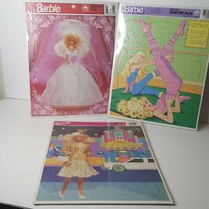 Lot of 3 Sealed NOS Vintage 1990s Barbie Frame Tray Puzzles Bride Gym Nite Out