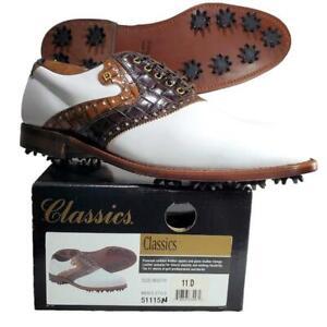 Footjoy Classics Men's 11 D Croc Calfskin Golf Shoes Saddle Brown 51115 USA Made
