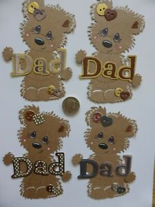 4 Large assorted DAD Birthday Bear Mens Father's Day cute handmade card toppers