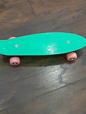 Retro-Style Skateboard ( Green With Pink Wheels)