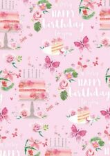 2 Sheets Gift Wrapping Paper HAPPY BIRTHDAY CAKE Butterfly Girl Ladies Fun Pink