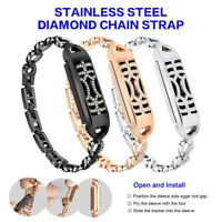 For Fitbit Flex 2 Watch Replacement Diamond Wrist Band Bangle Strap W/Metal Case