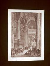 Incisione di Gustave Dorè del 1874 Interno della Cattedrale di Siviglia Spagna