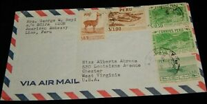 Vintage Cover, LIMA,PERU,1952, DIPLOMATIC,American Embassy To Chester,WV, Llama