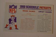 Original 1980 NEW ENGLAND PATRIOTS Pocket Schedule