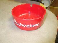 Retro Budweiser Red Ashtray - 3 slot -  3.75 Inch Diameter VGC L@@K!