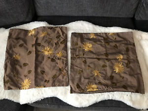 """Set Of 2 Chocolate Brown Silk Blend Cushion Covers With Gold Floral Design 17"""""""