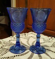Avon Fostoria Cobalt Blue George Washington Cameo Ribbed Glass Goblet - Set of 2