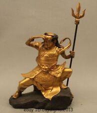 """10""""Chinese Bronze 24K Gold Skyeye thousand miles eye King Qian lixian Buddha"""