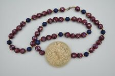 Vtg Chinese Taoist Symbol Necklace Carved Pendant Painted Ceramic Bead Shou *