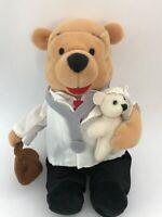 "Rare! Disney Winnie The Pooh Dr. Pooh Bean Bag Plush 8"""