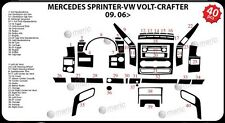 Mercedes Sprinter 906 2006–Present Dash Trim Kit 3M 3D Carbon Effect 40-Parts