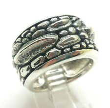 Wide Dragon Scales Band Sterling Silver 925 Ring 20g Sz.8 KWD303b
