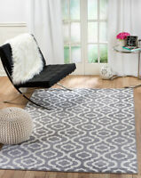 Gray and White modern soft pile sizes 2x3 5x7 8x11 area rug NVG59 Black