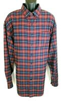 LL Bean Mens Flannel Shirt Size XXL T 2XL T New Red Blue Long Sleeve Button