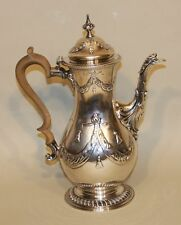 1771 Charles Wright London England Georgian Sterling Silver Festoons Coffee Pot