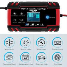 LCD 12V 24V Automotive Smart Battery Charger For Car Motorcycle Boat US Plug