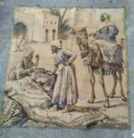 "Antique Tapestry Rug Wall Hanging Man On Camel 38"" x 39"""