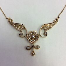 14K YELLOW GOLD VINTAGE PEARL NECKLACE