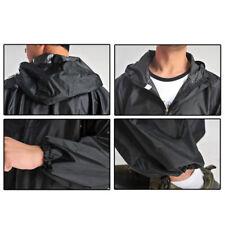 Hombre Trabajo Negro Enterizo MOTO Abrigo Impermeable Mono Traje De Lluvia PVC