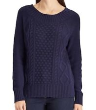 NWT Women's Chaps Cable Knit Crewneck Sweater - Large - Blue