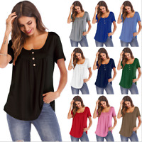 Women's Short Sleeve Blouse T Shirt Casual Loose Tunic Tee Plus Size Fashion