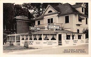 H73/ Cedar Rapids Iowa RPPC Postcard c1940s Kozy Inn Restaurant 70