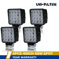 4x48W LED Work Light 5D Lens Truck OffRoad Tractor Flood Lights 12V 24V Square