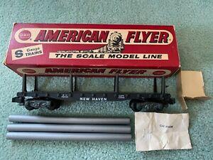 American Flyer #24539 New Haven flatcar EX RARE LATE BOX original loads knuckle
