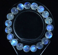 Natural Moonstone Blue Light Crystal Beads Bracelet 10mm AAAA