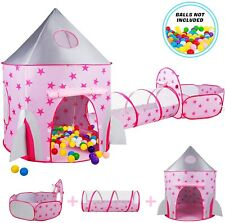 3 in 1 Play Toddler Crawl House Tunnel Tent In/Outdoor Portable Kids Ball Pit US