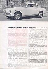 Alfa Romeo Giulietta Sprint & Veloce 1960-62 Original UK Leaflet Sales Brochure