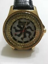 Men's Watch King Master Gold-tone Steel Case Diamond Bezel Leather Band