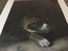 "Rare Antique 1869 London Original Print ""Tom"" Cat Framed  A Cooper Holler"
