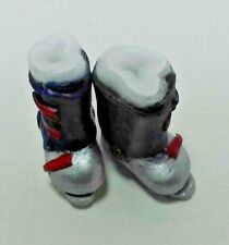 Dollhouse Miniature Ski Boots Fur Lined Handcrafted by Amy Robinson  1:12 scale