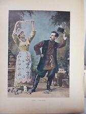 russie: Gravure 19° in folio couleur /danse russe