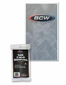 (100 Per Pack) BCW Tall Card Sleeves 2 5/8 X 4 13/16 For Tall Trading Cards