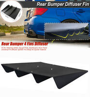 "21"" x 19"" Black ABS Universal Car Rear Bumper 4 Shark Fins Spoiler Wing Diffuser"