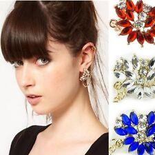 Ear Cuffs Statement Rhinestone Studs Flower Earrings Gothic Ear Clip Earring