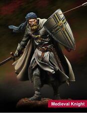 Medieval Caballero Cruzado Templario escala 75 75mm metal sin pintar KIT