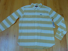 Quiksilver Shirt L Large Tube Prison Long Sleeves Curry Yellow Striped Cotton