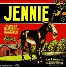 Polk Florida Jennie Donkey Orange Citrus Fruit Crate Label Art Print