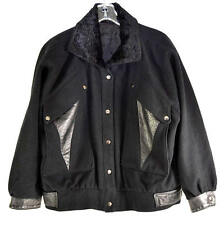 Black Thick Wool & Silver Leather with Faux Fur Collar Womens Jacket Size 14