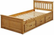 3ft Single Captain Cabin Storage Solid Wooden Bed Bedframe - WAXED PINE Finish