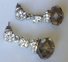 boucles d'oreilles percées clous couleur argent cristal diamant perle verre 4444
