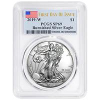 2019-W Burnished $1 American Silver Eagle PCGS SP69 FDOI Flag Label