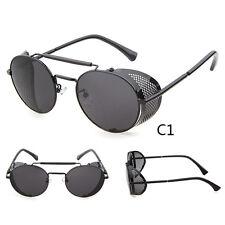 Black Vintage Retro Steampunk Gothic Side Shield Hipster Round Sunglasses b